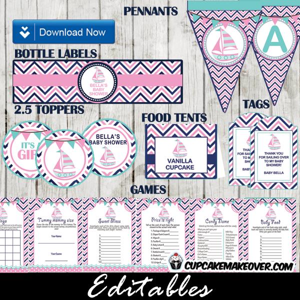 pink sail boat baby shower package printables diy