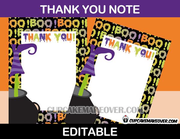 editable Halloween thank you cards