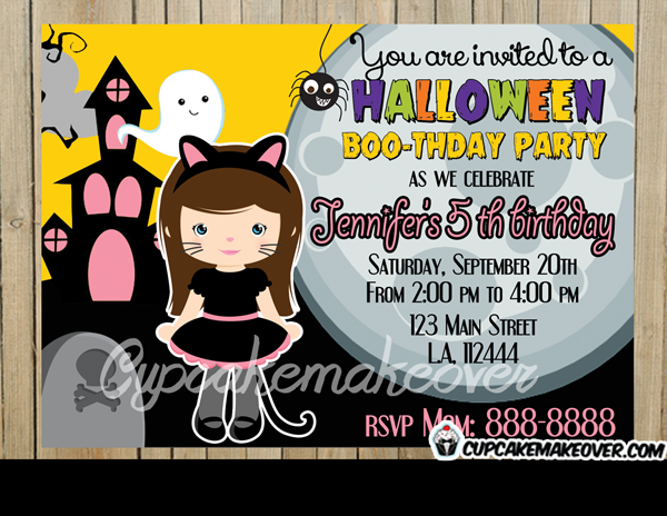 Halloween Boothday Girl Party Invitation Personalized - Halloween birthday invitations party