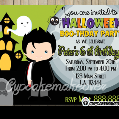 printable dracula Halloween invitations for boys