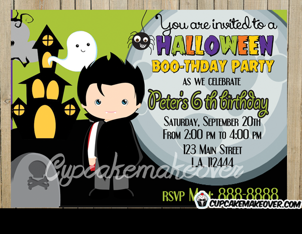 Halloween Dracula Party Invitation Personalized