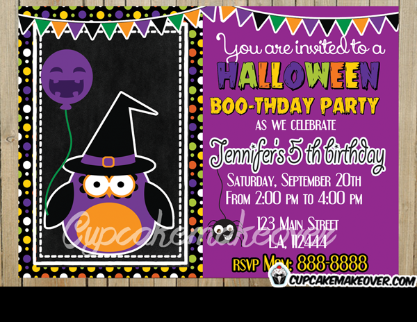 printable Halloween owl invitation card for kids