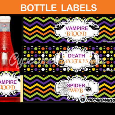 spooky halloween potion water bottle wrappers