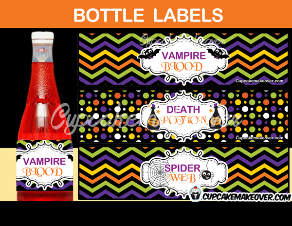 spooky halloween potion water bottle wrappers