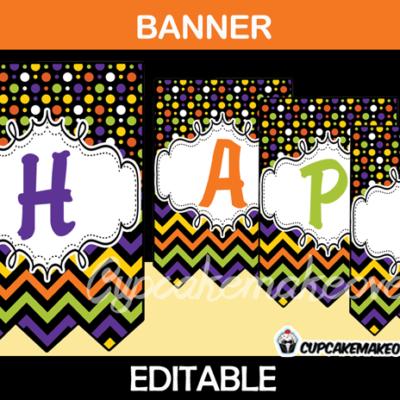 editable printable happy halloween banner