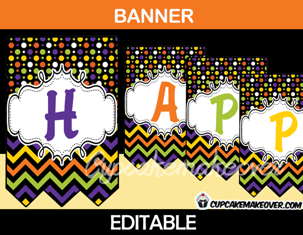 editable printable happy halloween banner