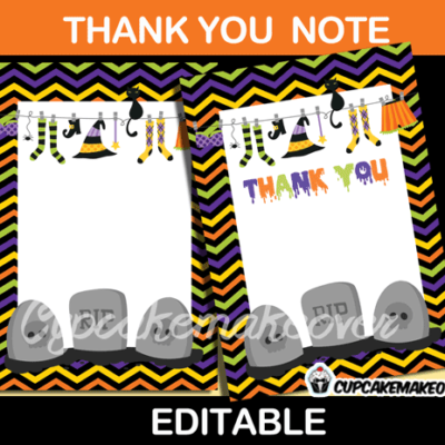 printable halloween thank you cards