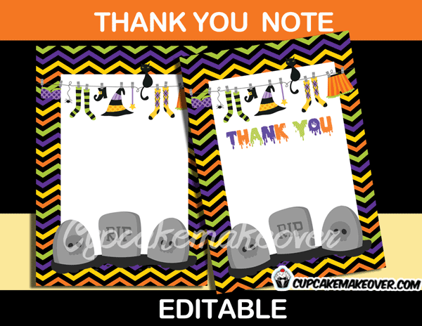printable halloween thank you cards