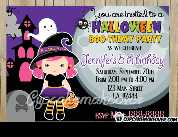 printable Halloween invitations for girls