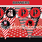 red black magic happy birthday banner
