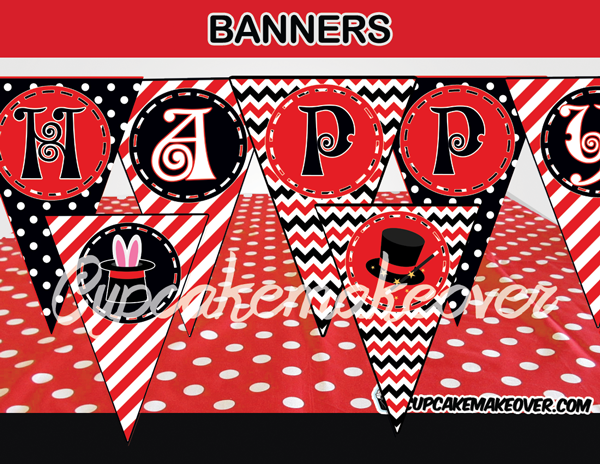 red black magic happy birthday banner