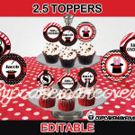 editable magic birthday cupcake toppers