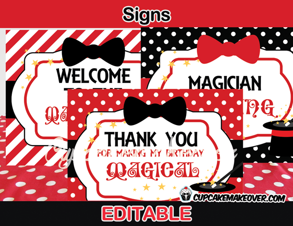 editable magic birthday party signs