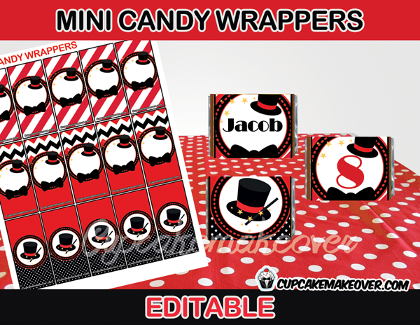magic party mini candy labels