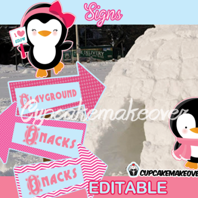 pink penguin party signs Arrows Winter wonderland