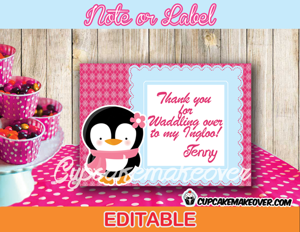 pink penguin favor notes Winter Wonderland tags