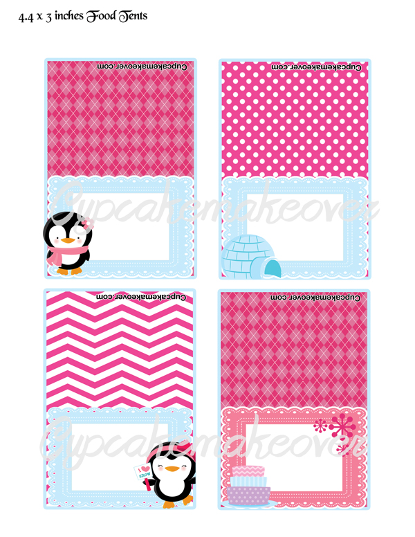 pink penguin editable food labels