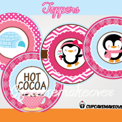 pink penguin decorations Winter Wonderland Toppers