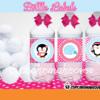 pink penguin bottle labels Winter Wonderland party ideas