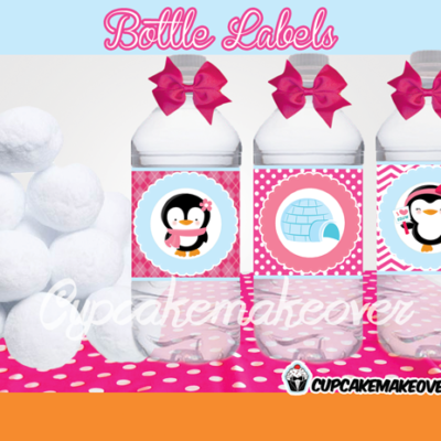 pink penguin bottle labels Winter Wonderland party ideas