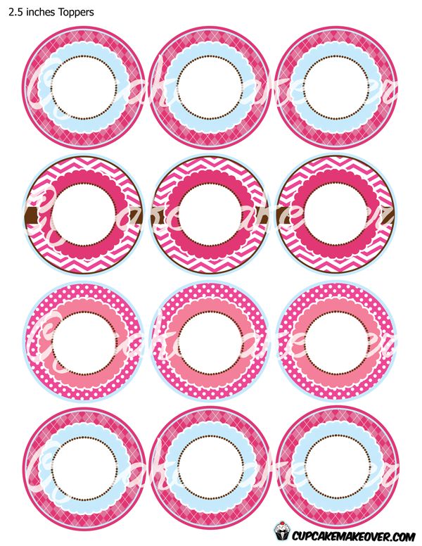 Pink Penguin Cupcake Toppers Instant Download