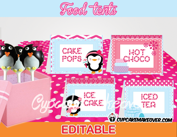 pink penguin Winter Wonderland Food Tents