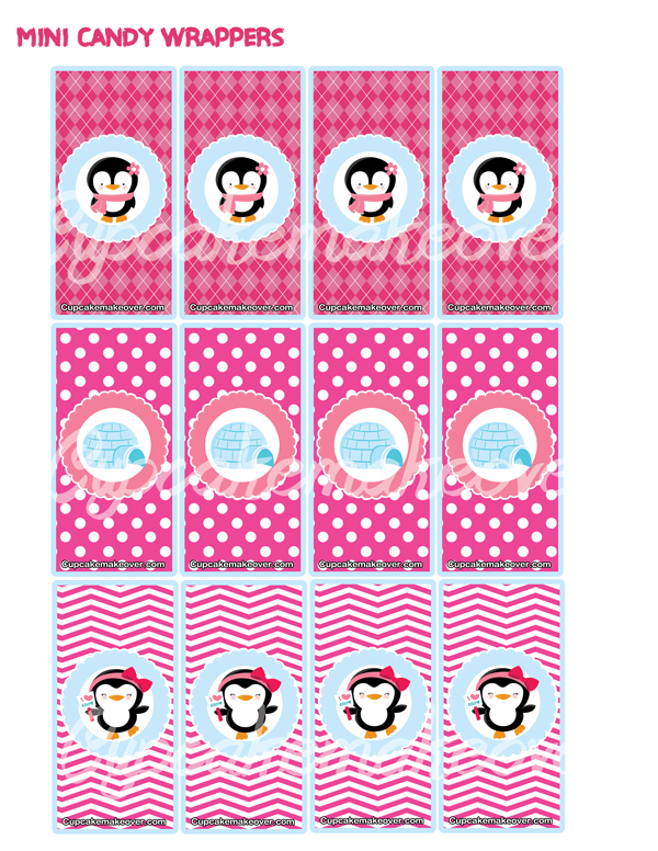 pink penguin mini candy labels