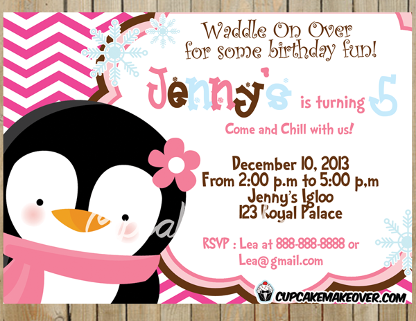 pink penguin party invitation printable