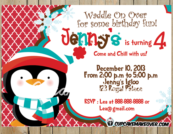 girl red winter birthday penguin invite