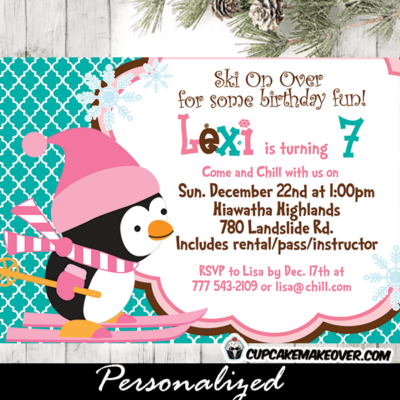 winter pink penguin birthday party invitation ski