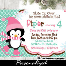 printable Christmas ice skating pink penguin birthday party invite winter ideas