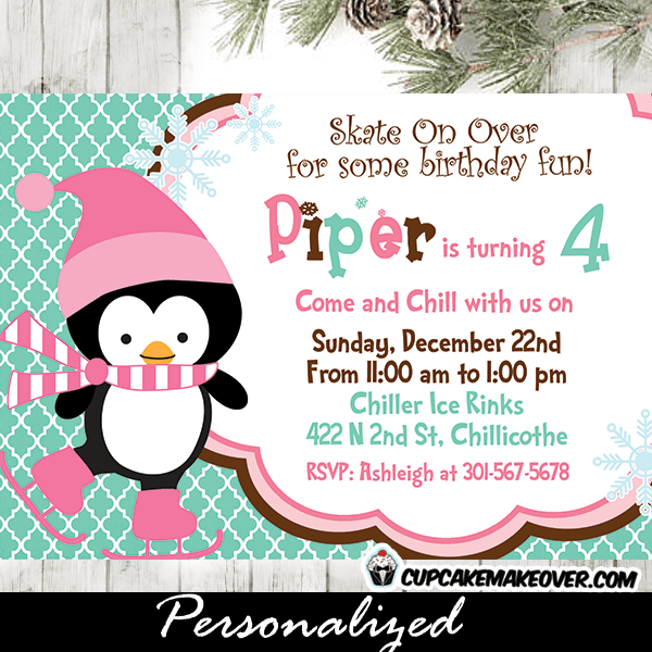 printable Christmas penguin birthday party invite