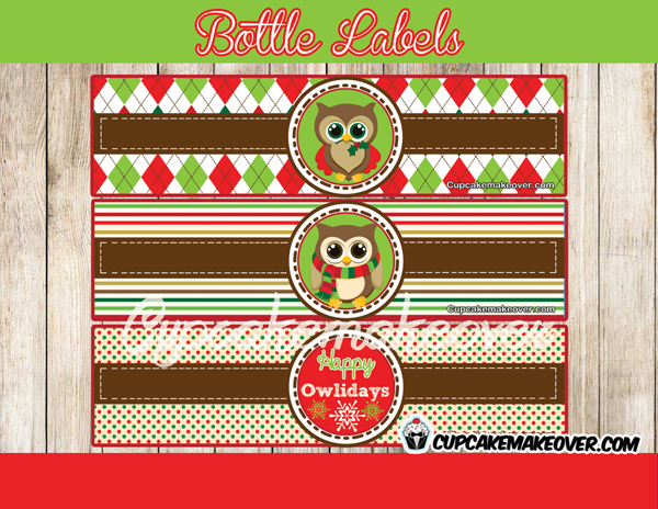 Christmas Owl Holiday BOTTLE LABELS
