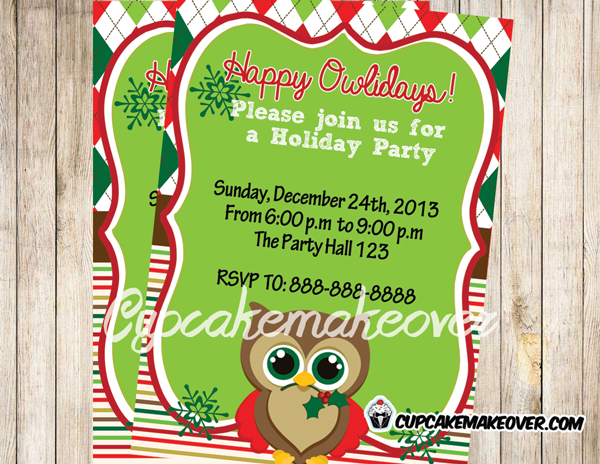 Owl Christmas Party Invitations