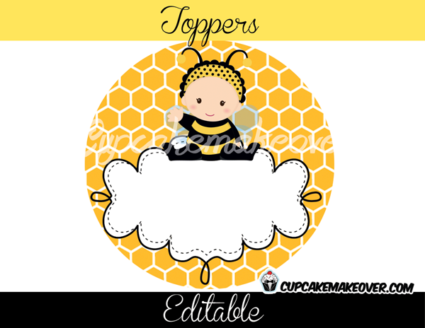 Bumble Bee Editable Favor Tags, Toppers D1 - Instant Download - Cupcakemakeover