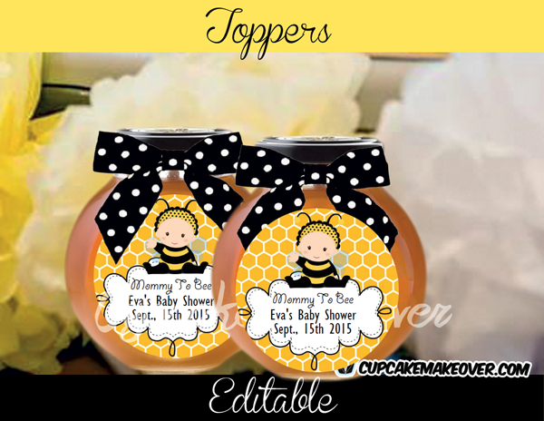 Black and yellow bee baby shower toppers tags labels
