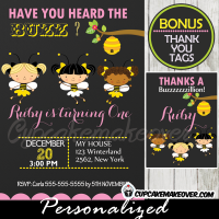 girls bumble bee birthday invitations printable