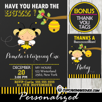 bee birthday party invitation girls