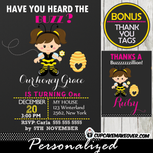printable bee birthday invitation girl