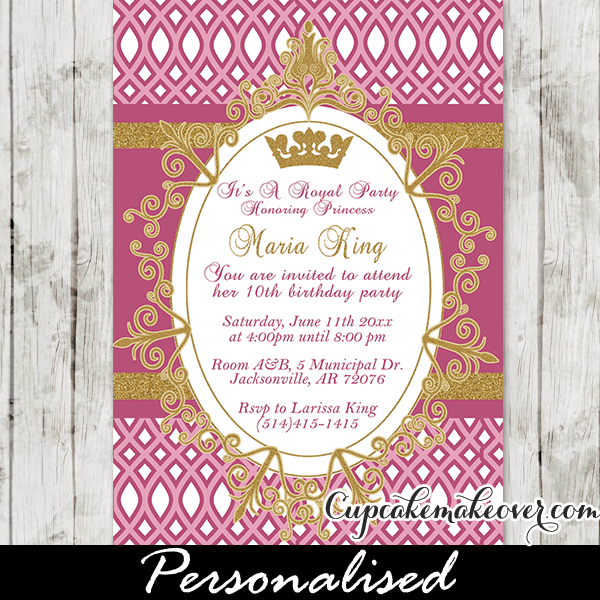 Princess birthday party invitations archives cupcakemakeover 1000 select options gold glitter fuchsia princess crown birthday invitation filmwisefo