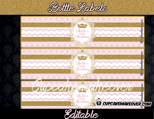 Pink and gold vintage bottle labels
