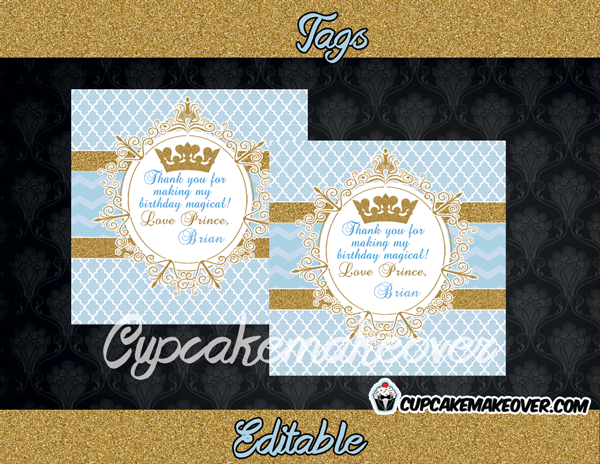blue and gold vintage tags