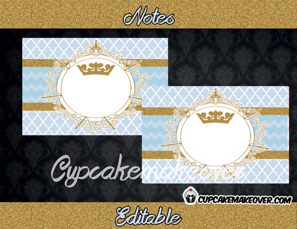 Vintage royal prince theme blue gold editable notes