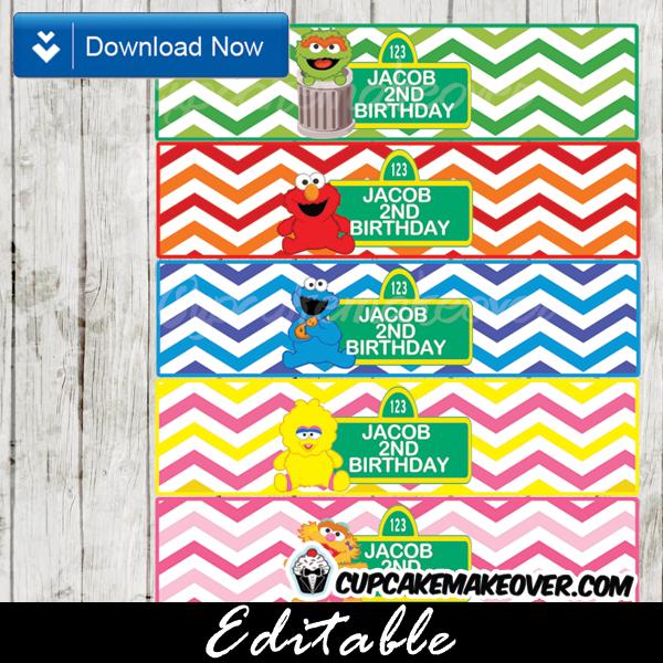 Printable Sesame Street Elmo Editable Bottle Labels