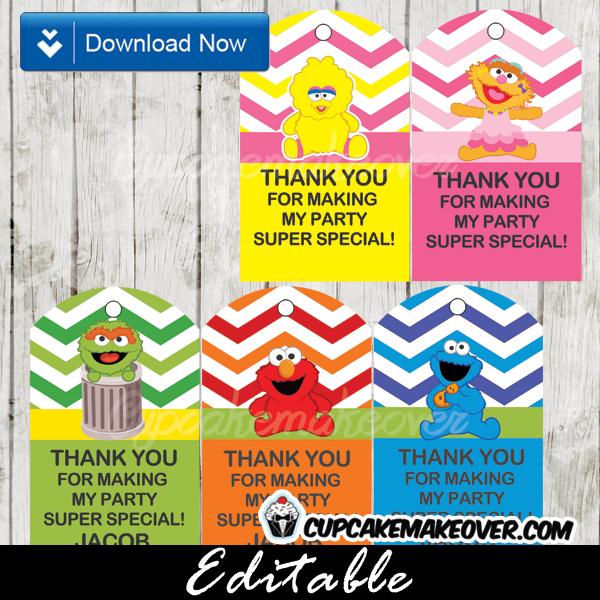 printable sesame street gift tags editable