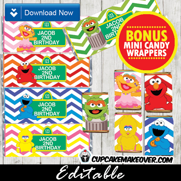 personalized elmo and friends sesame street candy bar labels
