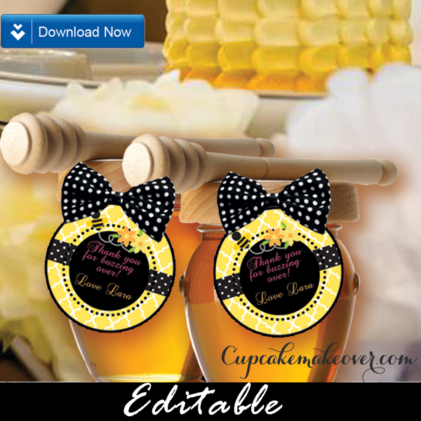 bumble bee favor tags cake toppers personalized