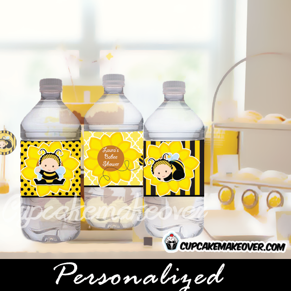 Bumble bee baby shower bottle wrappers