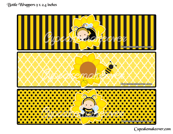 Bumble Bee Bottle Labels Personalized Cupcakemakeover