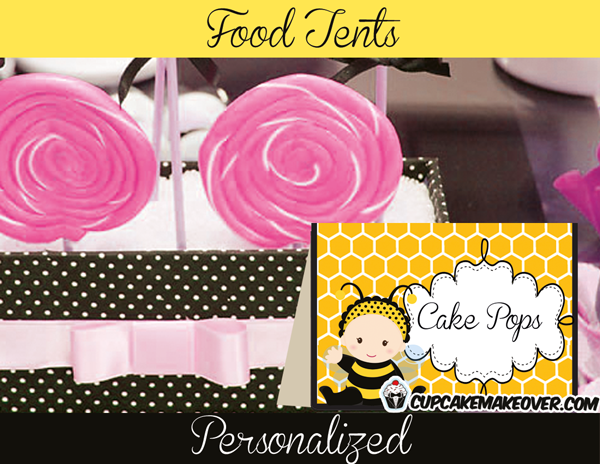 baby shower Black and yellow bumble bee Food labels